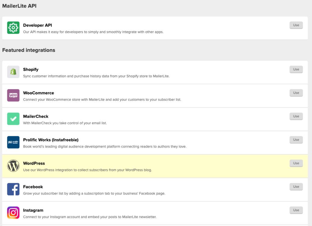 WordPress MailerLite API