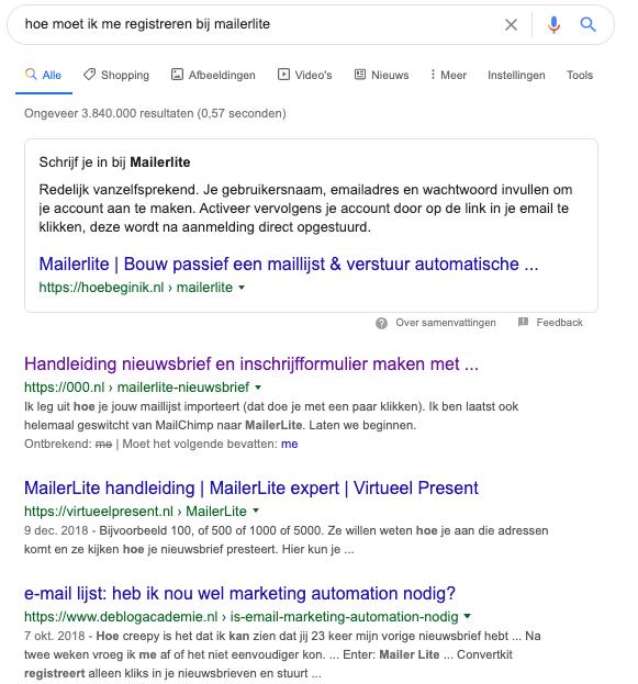 Featured Snippet voorbeeld